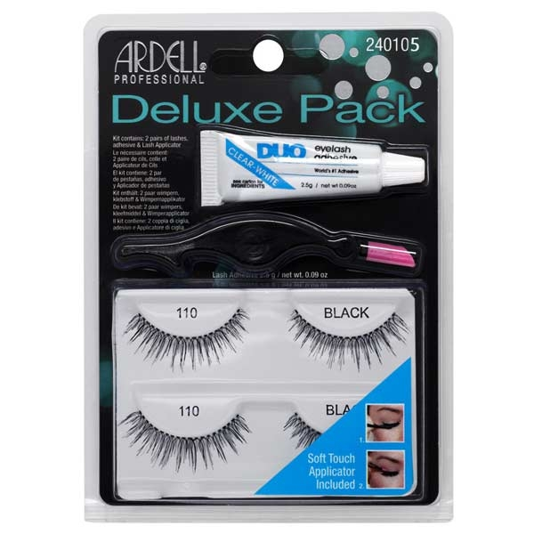 Ardell Deluxe 110 Black Pack ( 2 Pairs Of Lashes, Adhesive 2,5g & Lash Applicator)