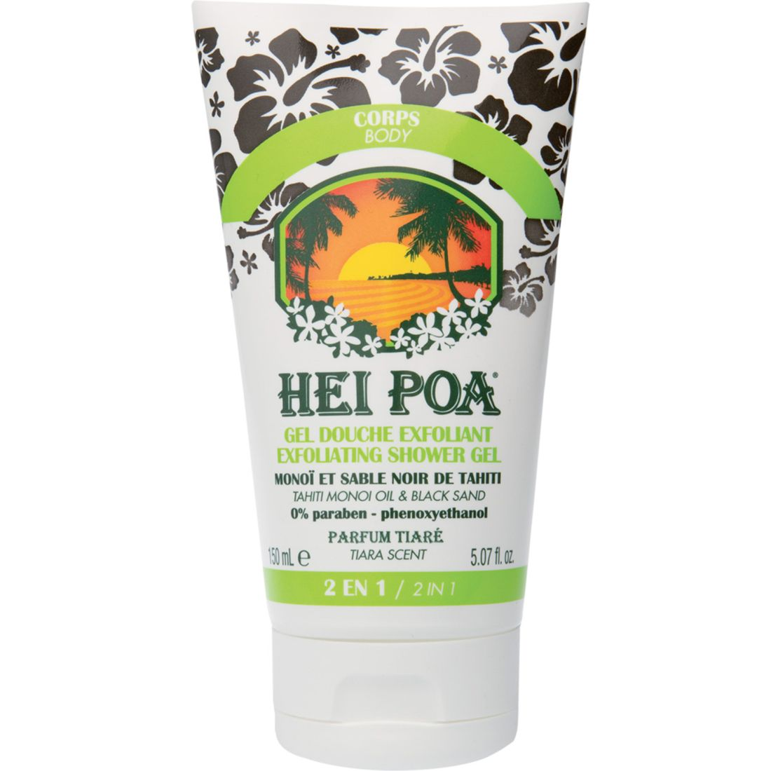 Hei Poa Exfoliating Shower Gel with Tahiti Monoi Oil & Black Sand 150ml