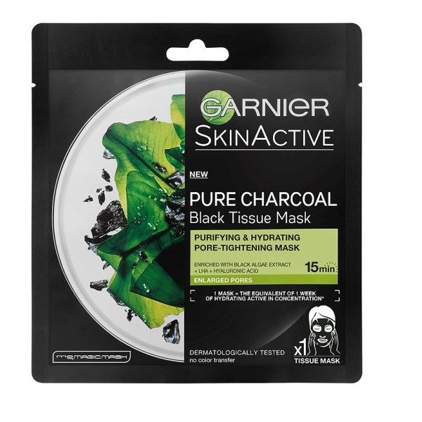 Garnier SkinActive Pure Charcoal Black Tissue Mask 28gr Τύπος Δέρματος : Όλοι οι τύποι