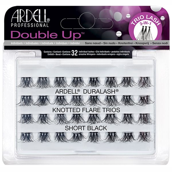 Ardell Double Up 32 Individuals Lashes Knotted Flare Trio Short Black