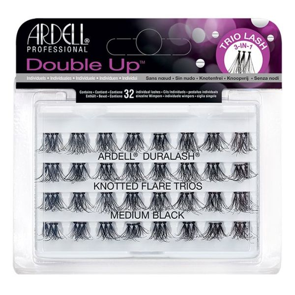 Ardell Double Up 32 Individuals Lashes Knotted Flare Trio Medium Black