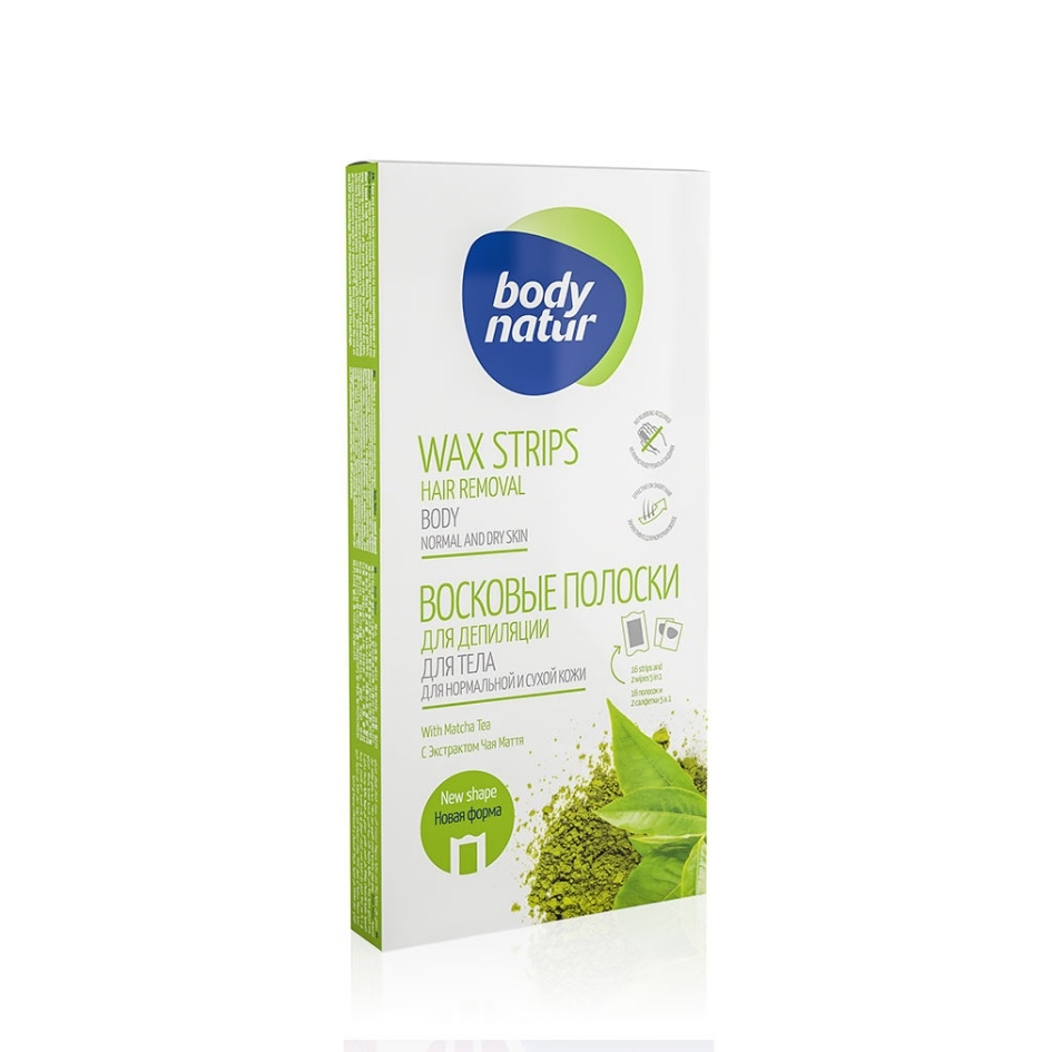 Body Natur Hair Removal Wax Strips With Matcha Tea For Body Normal And Dry Skin 16τμχ.